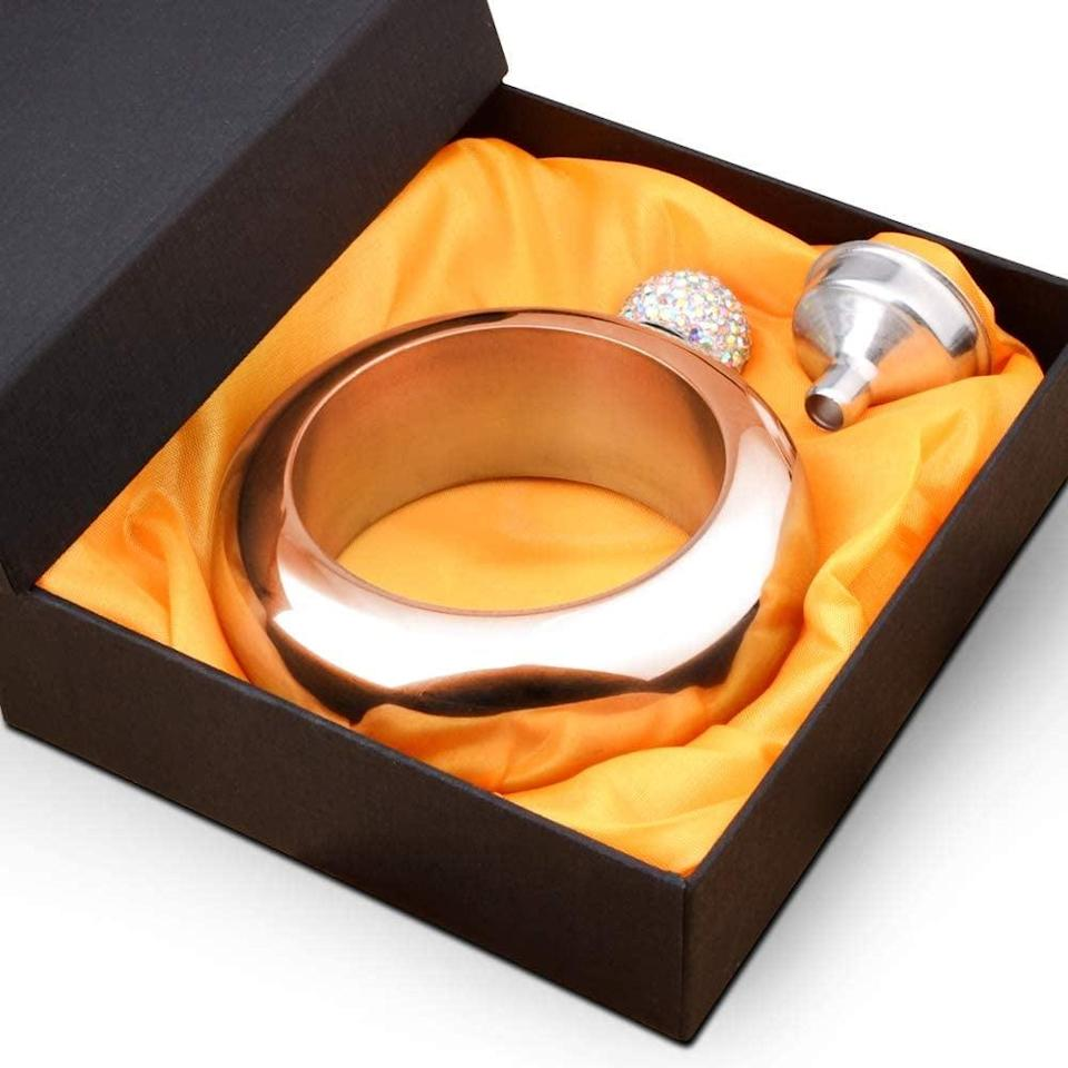 <p>The <span>Stainless Steel Bangle Flask With Rhinestone Lid</span> ($15) will come in handy.</p>