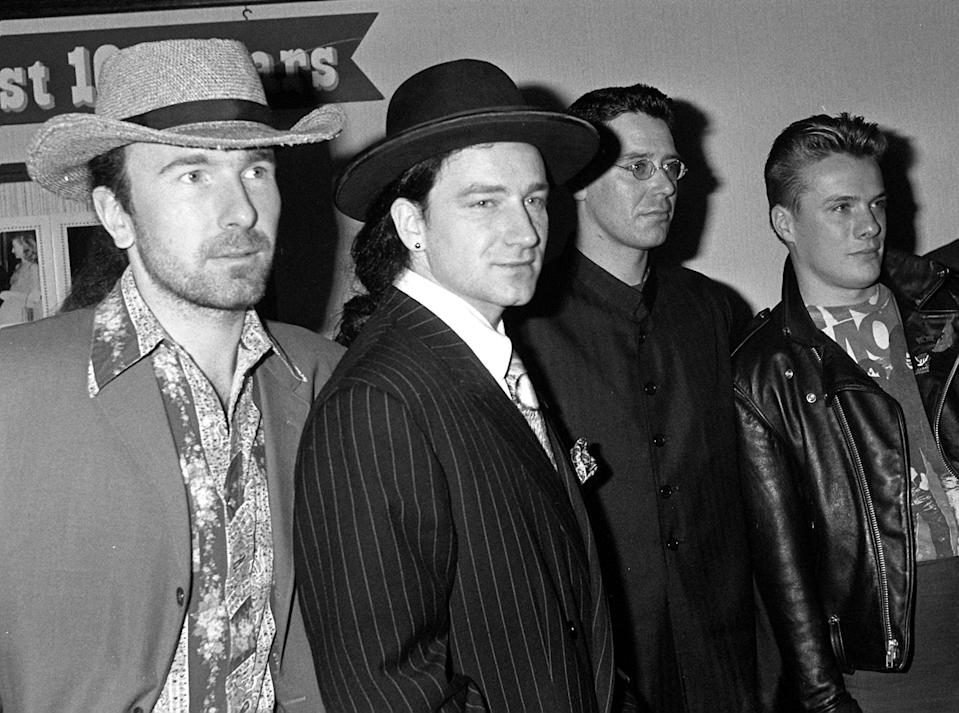 MARCH 9TH : On this day in 1987 Irish rock band U2 released their album 'The Joshua Tree'. Top rock band, U2, from Dublin. From Left: Dave 'The Edge' Evans, Bono, Adam Clayton and Larry Mullen. CELEBRITY (Photo by David Jones - PA Images/PA Images via Getty Images)