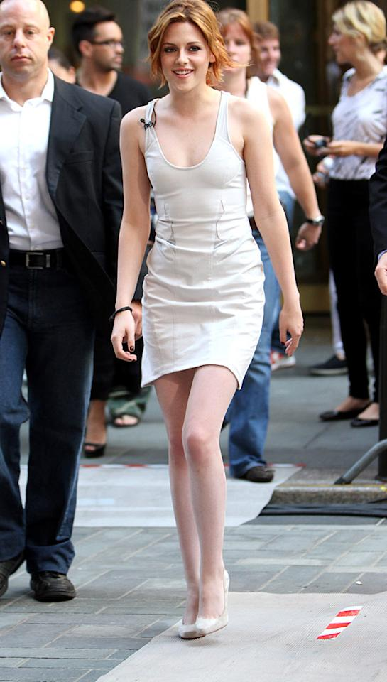 """With newly dyed strawberry-blond locks that seem to go perfectly with every outfit she's worn this week, Kristen Stewart dropped in at the """"Today"""" show clad in an off-white Helmut Lang mesh cut-out tank dress and color-coordinated Louboutin heels. Jason Howard/<a href=""""http://www.splashnewsonline.com"""" target=""""new"""">Splash News</a> - June 29, 2010"""