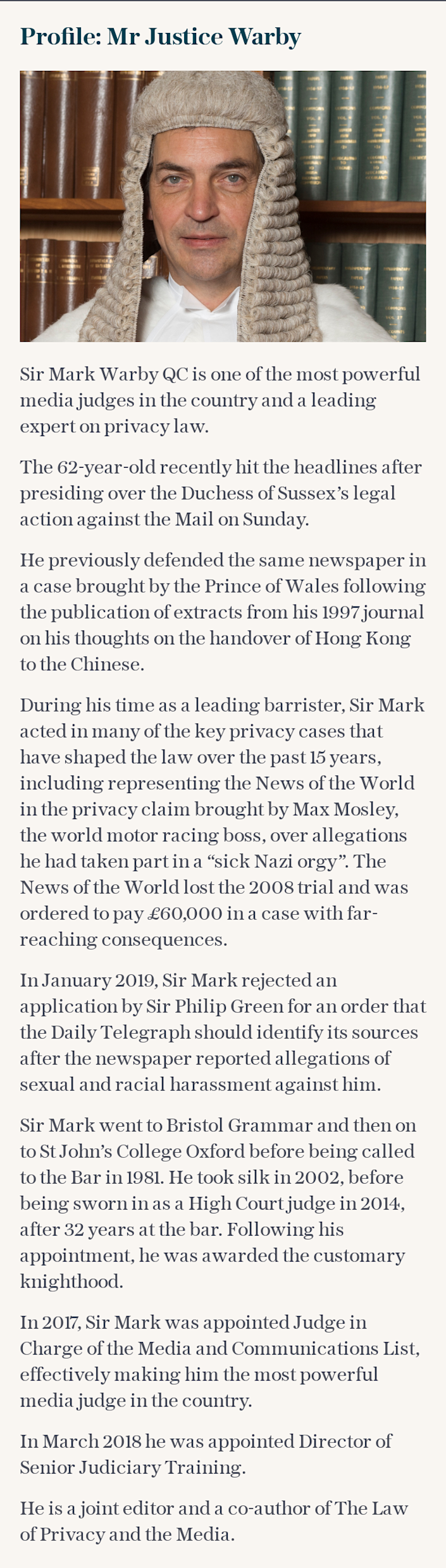 Profile: Mr Justice Warby