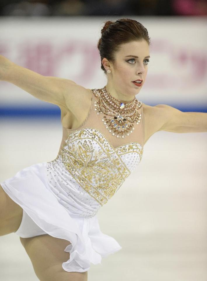 Ashley Wagner performs during her singles free skate program, Saturday, April 23, 2016, at the Team Challenge figure skating event in Spokane, Wash. (Jesse Tinsley/The Spokesman-Review via AP)