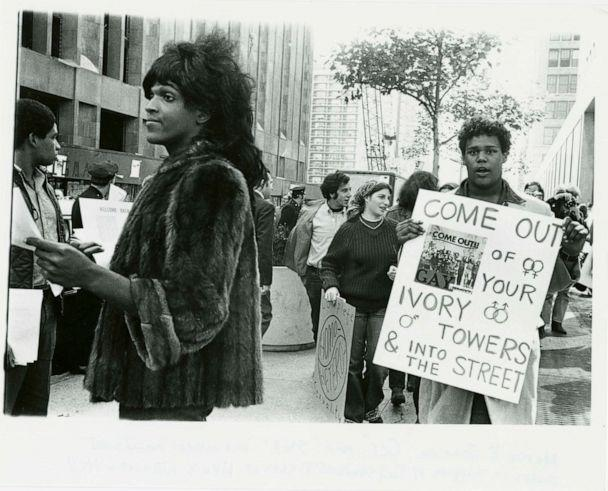 PHOTO: A 1970 photo of Marsha P. Johnson handing out flyers in support of Gay Students at NYU is seen here courtesy of the New York Public Library's '1969: The Year of Gay Liberation' exhibit. (Diana Davies/NYPL/Handout via Reuters, FILE)