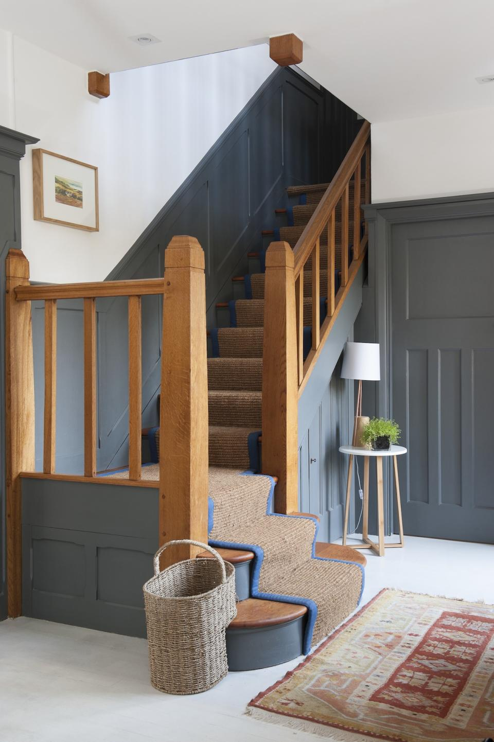 staircase ideas: panelled staircase painted panelling