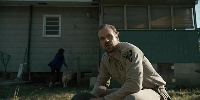 "<p>David Harbour proved that he's bona fide as a leading man in the first season of <i>Stranger Things</i>, turning in a fine performance as the weary but <a href=""https://www.yahoo.com/news/emmys-stranger-things-star-david-harbour-revisits-sheriff-hoppers-tough-guy-moment-140042348.html"" data-ylk=""slk:fiery and determined sheriff;outcm:mb_qualified_link;_E:mb_qualified_link"" class=""link rapid-noclick-resp newsroom-embed-article"">fiery and determined sheriff</a> carrying a ton of emotional baggage. He was the rock that anchored the show to its humanity. <i>— Kelly Woo</i><br><br>(Photo: Netflix) </p>"