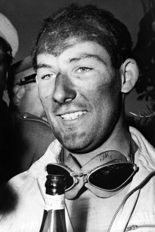 Stirling Moss after winning the iconic Mille Miglia endurance race in 1955.