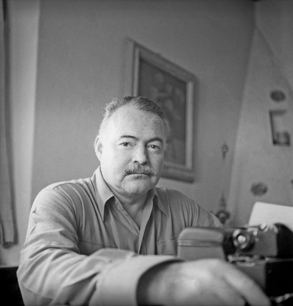 """<p>Hemingway's first and only Pulitzer Prize was awarded to him in 1953 for his novel, <em><a href=""""https://www.amazon.com/Old-Man-Sea-Ernest-Hemingway/dp/0684801221?tag=syn-yahoo-20&ascsubtag=%5Bartid%7C10067.g.36892485%5Bsrc%7Cyahoo-us"""" rel=""""nofollow noopener"""" target=""""_blank"""" data-ylk=""""slk:The Old Man and the Sea"""" class=""""link rapid-noclick-resp"""">The Old Man and the Sea</a>. </em></p>"""