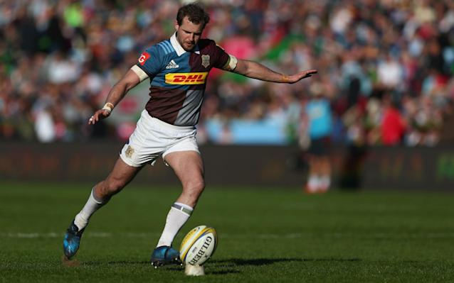 <span>Kicking off: Nick Evans of Harlequins</span> <span>Credit: Getty </span>