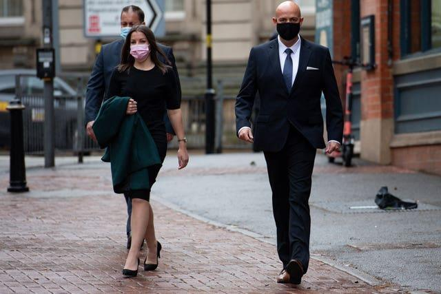 West Mercia Police Constables Benjamin Monk (right) and Mary Ellen Bettley-Smith outside Birmingham Crown Court