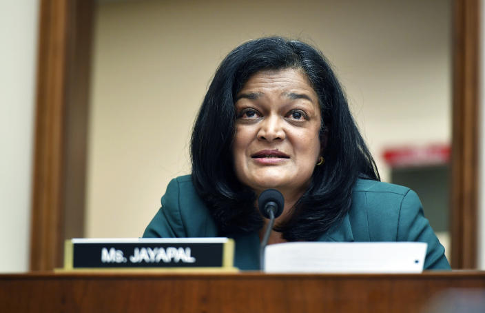 FILE - In this July 29, 2020 file photo, Rep. Pramila Jayapal, D-Wash., speaks during a House Judiciary subcommittee on antitrust on Capitol Hill in Washington. A second Democratic member of the House who was forced to go into lockdown during last week's violent protest has tested positive for COVID-19. Rep. Pramila Jayapal of Washington says she has tested positive. She criticized Republican members of Congress who declined to wear a mask when it was offered to them. (Mandel Ngan/Pool via AP, File)