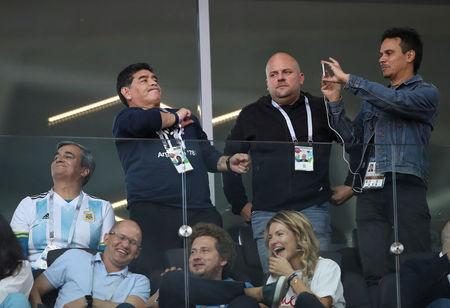 Soccer Football - World Cup - Group D - Argentina vs Iceland - Spartak Stadium, Moscow, Russia - June 16, 2018 Former Argentina player Diego Maradona watches from the stand REUTERS/Carl Recine