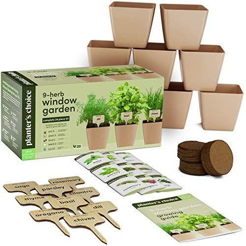 """<p><strong>Planter's Choice</strong></p><p>amazon.com</p><p><strong>$34.99</strong></p><p><a href=""""https://www.amazon.com/dp/B081NXKGFD?tag=syn-yahoo-20&ascsubtag=%5Bartid%7C10055.g.36521619%5Bsrc%7Cyahoo-us"""" rel=""""nofollow noopener"""" target=""""_blank"""" data-ylk=""""slk:Shop Now"""" class=""""link rapid-noclick-resp"""">Shop Now</a></p><p>This nine herb garden kit is perfect for beginners that want to give their green thumb a try without making a big investment. It<strong> comes with everything you need to get started, including reusable pots with drainage holes, drip trays, plant markers, soil discs and a planting guide.</strong> </p><p>It's one of the top-rated kits on Amazon with over 4,600 reviews and a 4.1 rating and shoppers say they love the variety of seeds that come with the kit such as basil, chives, cilantro, dill, oregano, parsley, southern giant mustard, sage and thyme. Take note, the pots and drip trays are made of plastic and some reviewers preferred something more sturdy.</p>"""
