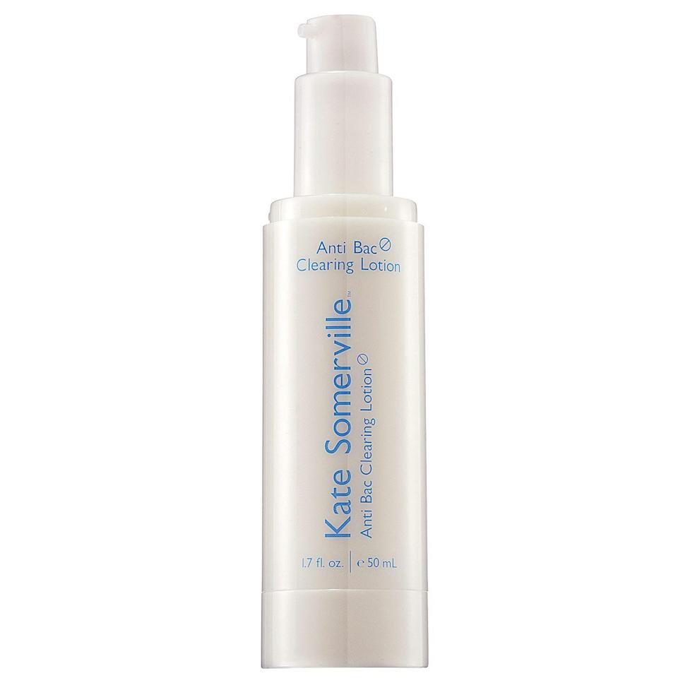 """<p><strong>Kate Somerville</strong></p><p>sephora.com</p><p><strong>$42.00</strong></p><p><a href=""""https://go.redirectingat.com?id=74968X1596630&url=https%3A%2F%2Fwww.sephora.com%2Fproduct%2Fanti-bac-clearing-lotion-P232907&sref=https%3A%2F%2Fwww.cosmopolitan.com%2Fstyle-beauty%2Fbeauty%2Fg33369976%2Fbest-benzoyl-peroxide-products%2F"""" rel=""""nofollow noopener"""" target=""""_blank"""" data-ylk=""""slk:Shop Now"""" class=""""link rapid-noclick-resp"""">Shop Now</a></p><p>Twice daily, smooth a little bit of this lotion over clean, dry skin to help get rid of everything from stubborn <a href=""""https://www.cosmopolitan.com/style-beauty/beauty/g2670/how-to-get-rid-of-blackheads/"""" rel=""""nofollow noopener"""" target=""""_blank"""" data-ylk=""""slk:blackheads"""" class=""""link rapid-noclick-resp"""">blackheads</a> to red, angry pimples. The 5 percent benzoyl peroxide formula is <strong>time-released to be ultra-effective at zapping zit</strong><strong>s</strong>, yet gentler on skin.</p>"""