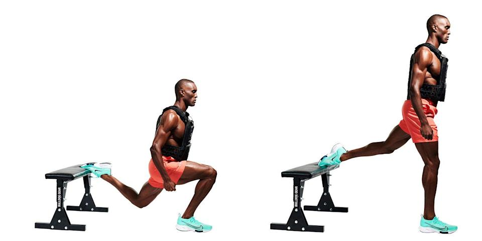 <p>Back to the legs. With one foot on a box and the other a couple of feet in front (<strong>A</strong>), bend your front knee and lower yourself to the floor (<strong>B</strong>). Push back up to the start. Complete your reps on one leg before moving to the other.</p>
