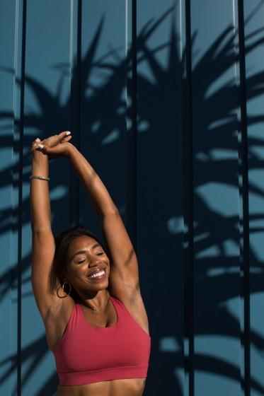 """Danielle Richardson, an optometrist turned yoga instructor, says the pandemic has allowed her to realign her career goals. <span class=""""copyright"""">(Gabriella Angotti-Jones / Los Angeles Times)</span>"""