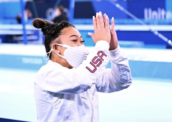 -TOKYO,JAPAN July 29, 2021: USA's Sunisa Lee celebrates the gold medal in the women's individual all-around final at the 2020 Tokyo Olympics. (Wally Skalij /Los Angeles Times)