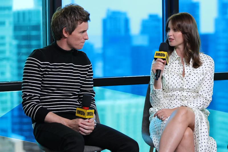 TORONTO, ONTARIO - SEPTEMBER 07: Actors Eddie Redmayne and Felicity Jones of 'The Aeronauts' attend The IMDb Studio Presented By Intuit QuickBooks at Toronto 2019 at Bisha Hotel & Residences on September 07, 2019 in Toronto, Canada. (Photo by Rich Polk/Getty Images for IMDb)