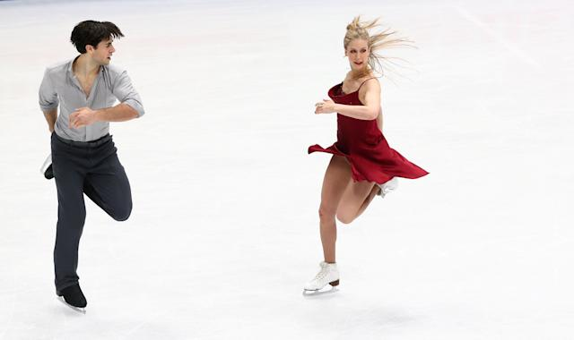 Figure Skating - World Figure Skating Championships - The Mediolanum Forum, Milan, Italy - March 24, 2018 Canada's Kaitlyn Weaver and Andrew Poje during the Ice Dance Free Dance REUTERS/Alessandro Bianchi