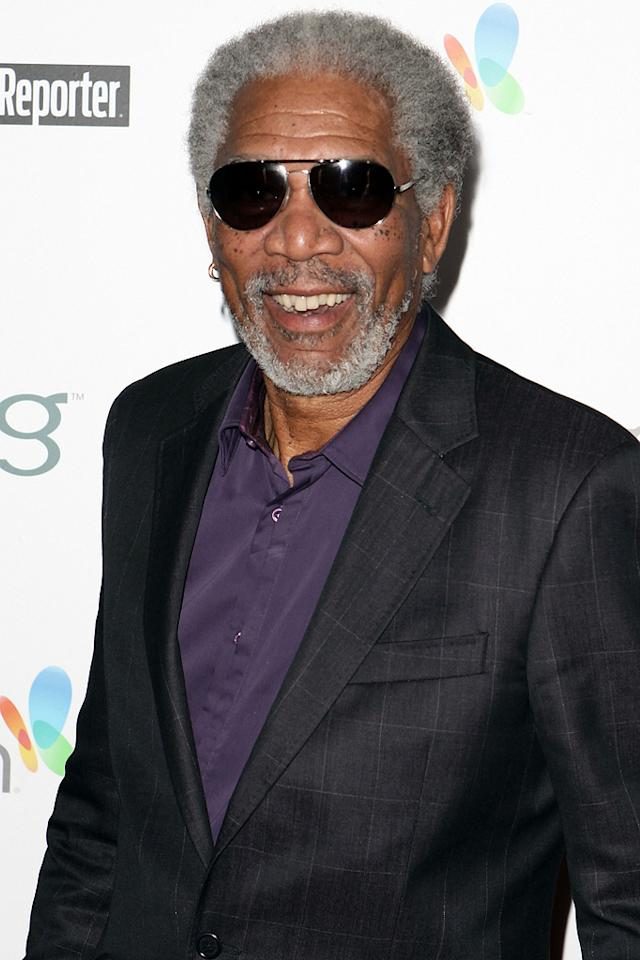 """<a href=""""http://movies.yahoo.com/movie/contributor/1800020214"""">Morgan Freeman</a> arrives at The Hollywood Reporter Reception Honoring Oscar Nominees at The Getty House on March 4, 2010 in Los Angeles, California."""
