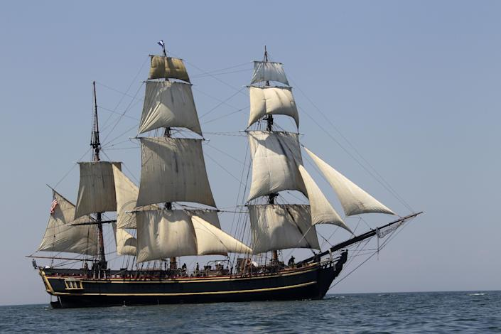 In this July 7, 2010 file photo, the tall ship HMS Bounty sails on Lake Erie off Cleveland. The U.S. Coast Guard has rescued 14 members of the crew forced to abandon the HMS Bounty caught in Hurricane Sandy off North Carolina. The Coast Guard is searching for two other crew members. (AP Photo/Mark Duncan, File)