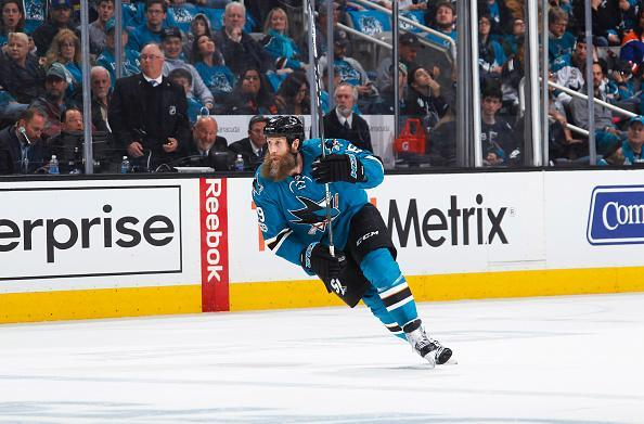 SAN JOSE, CA - APRIL 16: Joe Thornton #19 of the San Jose Sharks skates against the Edmonton Oilers in Game Three of the Western Conference First Round during the 2017 NHL Stanley Cup Playoffs at SAP Center on April 16, 2017 in San Jose, California. (Photo by Rocky W. Widner/NHL/Getty Images)