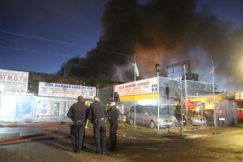 Dozens of firefighters tackle huge blaze at car repair workshop in Walthamstow: Paul Wood