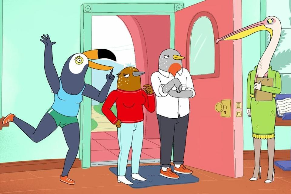 """<p>This adult animated comedy revolves around two 30-year-old bird women - a carefree toucan and an anxious songbird - who live in the same apartment building. </p> <p><a href=""""http://www.netflix.com/title/80198137"""" class=""""link rapid-noclick-resp"""" rel=""""nofollow noopener"""" target=""""_blank"""" data-ylk=""""slk:Watch Tuca &amp; Bertie on Netflix now."""">Watch <strong>Tuca &amp; Bertie</strong> on Netflix now.</a></p>"""