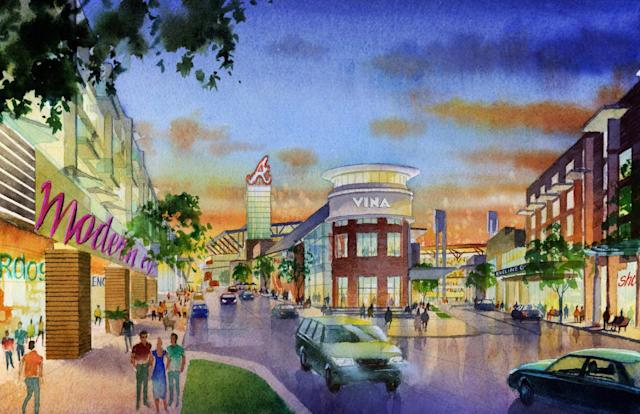 This artist rendering provided by the Atlanta Braves shows the team's proposed new ballpark and mixed-use development design in Cobb County including restaurants and shops along a boulevard outside the stadium in suburban Cobb County, which they say will seat 41,500 and include plenty of revenue-generating amenities around the ballpark. The stadium is scheduled to open in 2017, replacing Turner Field. (AP Photo/Atlanta Braves)