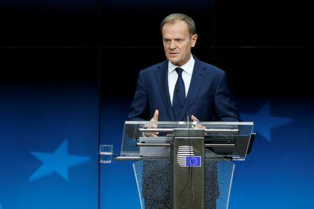 EU Council President Tusk addresses a news conference during a EU leaders summit in Brussels