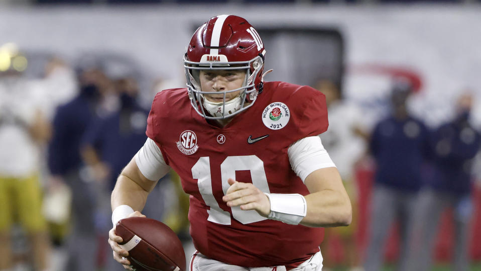 Mac Jones was a Heisman finalist at Alabama last season. (AP Photo/Ron Jenkins)
