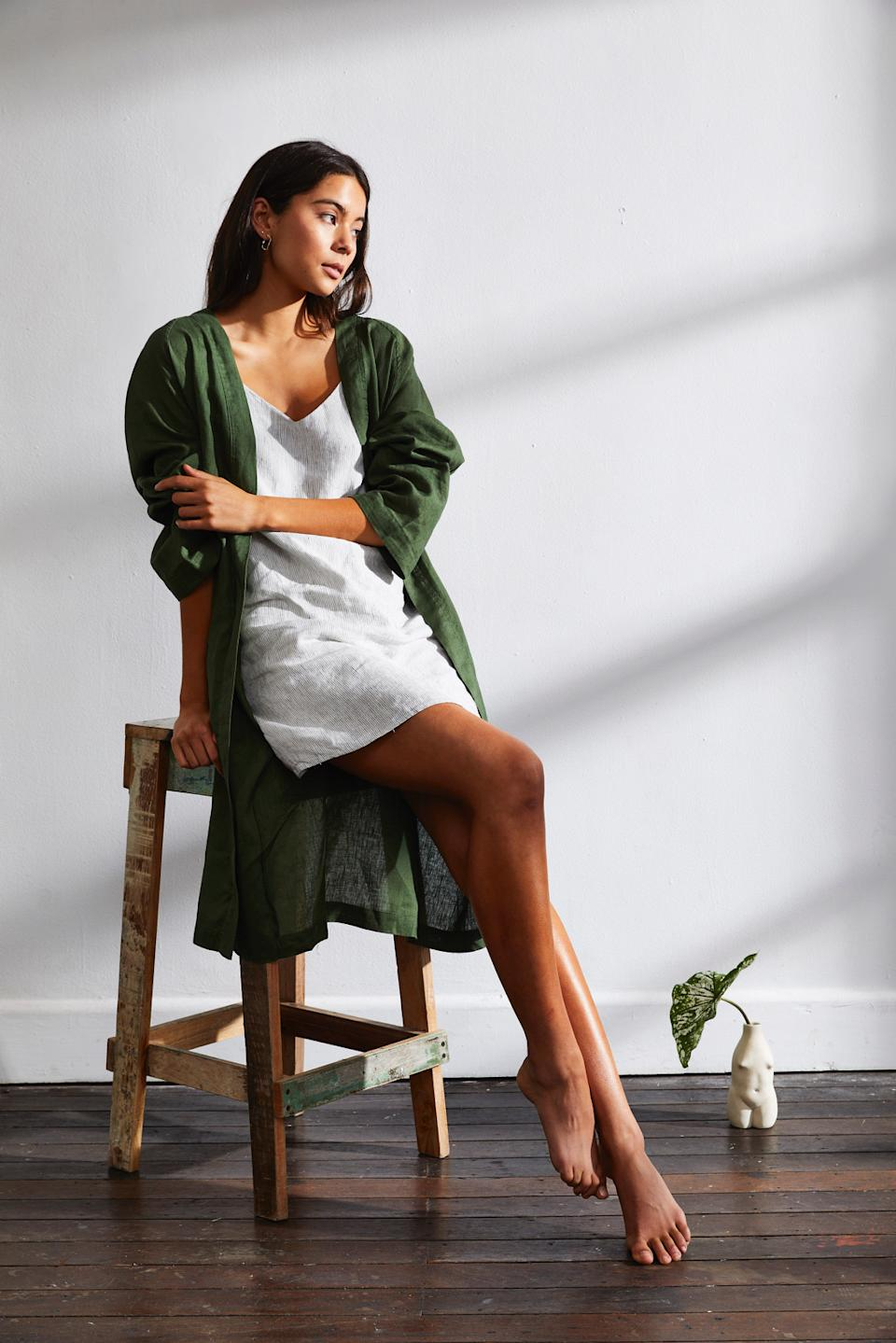 100% French Flax Linen Slip in Pinstripe, $80 and 100% French Flax Linen Robe in Olive, $100 from Threads by Bed Threads
