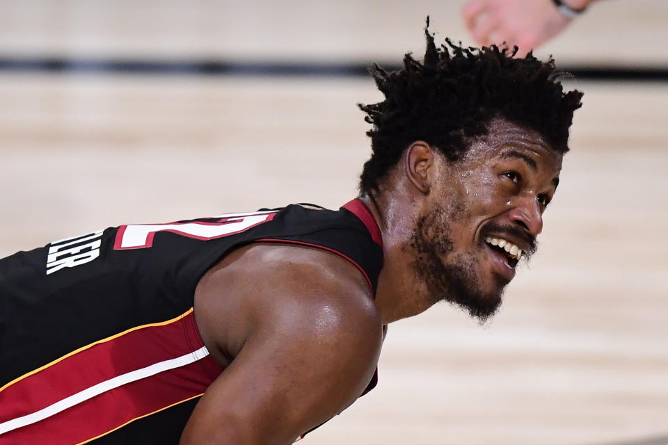 Miami Heat star Jimmy Butler was all smiles in the biggest and best game of his career. (Douglas P. DeFelice/Getty Images)