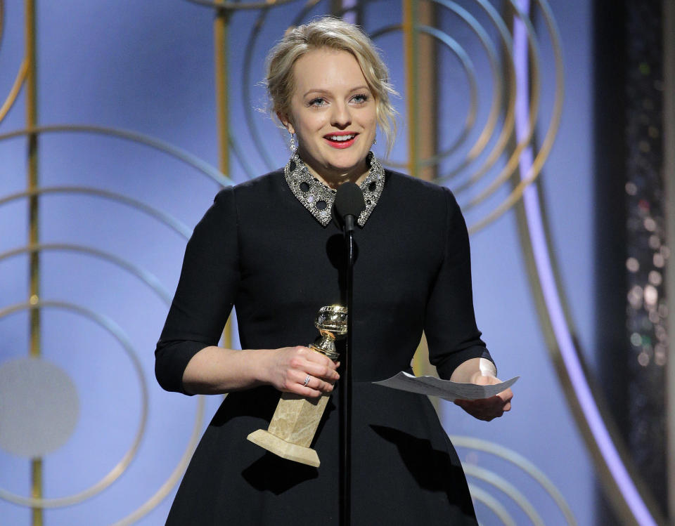 Elisabeth Moss gives her acceptance speech at the Golden Globes 2018 (Paul Drinkwater/NBC via AP)