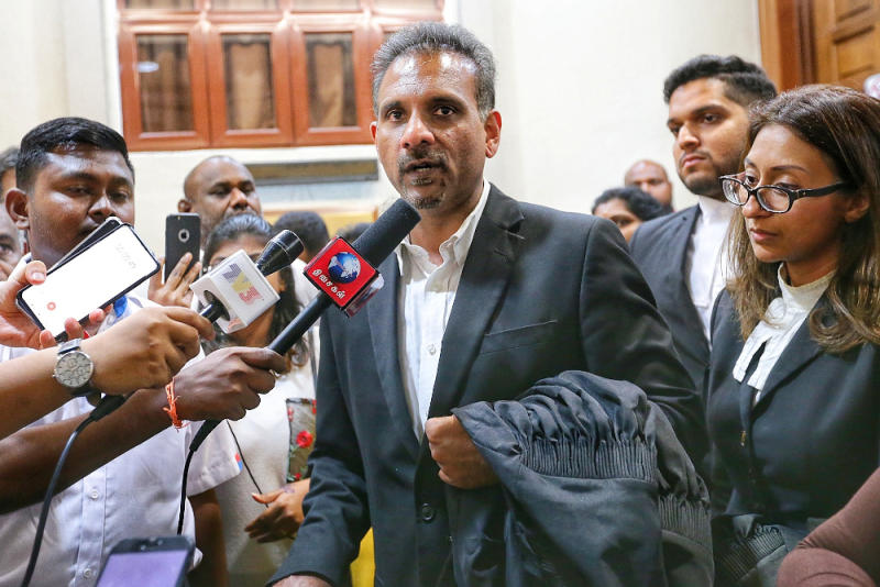 Lawyer Ramkarpal Singh speaks to reporters at Kuala Lumpur High Court on LTTE bail application November 26, 2019. — Picture by Ahmad Zamzahuri