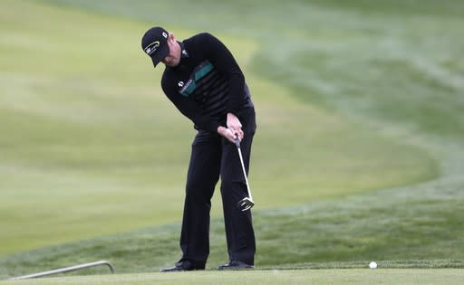 Jamie Donaldson from Wales putts during the golf Czech Masters European Tour Event in Vysoky Ujezd, Czech Republic, Sunday, Aug. 24, 2014. (AP Photo/Petr David Josek)