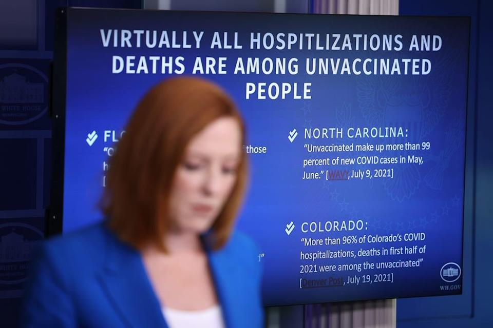 """<div class=""""inline-image__caption""""><p>White House Press Secretary Jen Psaki fields questions from reporters on CDC guidance on indoor mask-wearing for those vaccinated against COVID-19. </p></div> <div class=""""inline-image__credit"""">Anna Moneymaker/Getty</div>"""