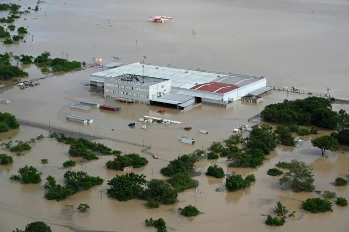 Aerial view of a factory on the outskirts of Honduras' second largest city San Pedro Sula after the passage of Hurricane Iota