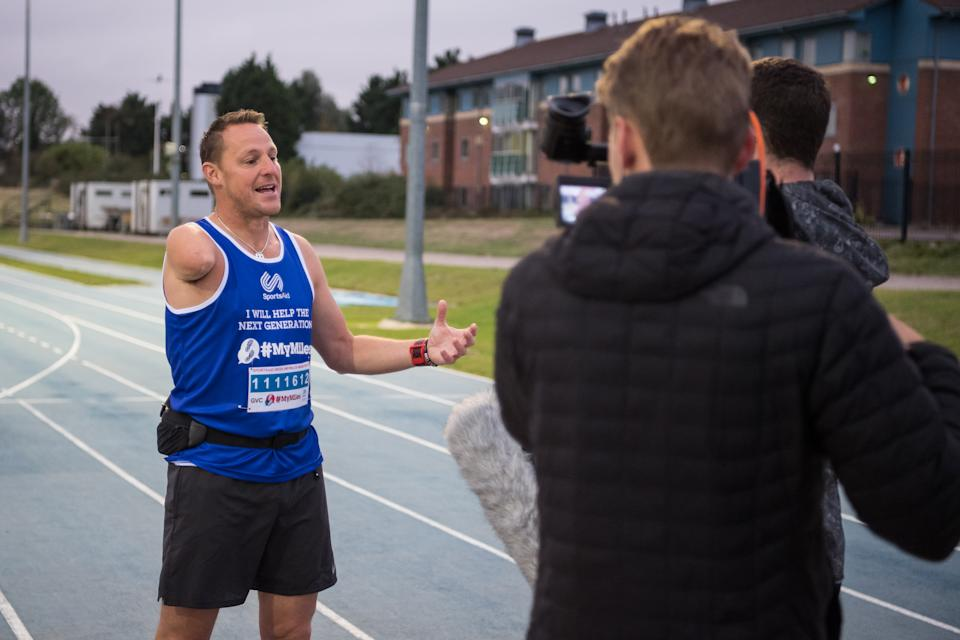 Tim Lawler, Danny Crates and Andrew Cohen-Wray run a #MyMiles marathon in aid of Sports Aid in Milton Keynes, England, UK
