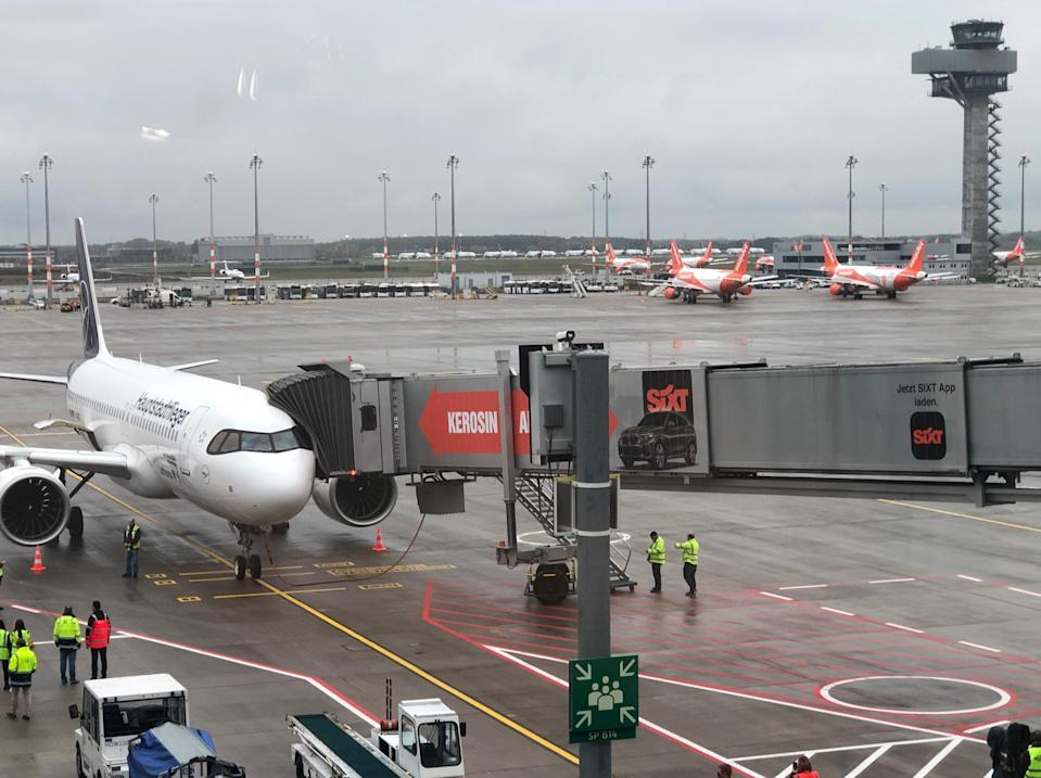 <p>Lonely plane: Berlin is seeing one-tenth of its expected passengers</p> (Simon Calder)