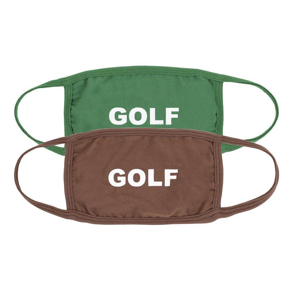 """<p>golfwang.com</p><p><strong>$20.00</strong></p><p><a href=""""https://golfwang.com/collections/new/products/golf-face-mask-2pk-by-golf-wang?variant=35371145494689"""" rel=""""nofollow noopener"""" target=""""_blank"""" data-ylk=""""slk:BUY IT HERE"""" class=""""link rapid-noclick-resp"""">BUY IT HERE</a></p><p>Ironically, this brand actually has nothing to do with golf itself. In fact, it's a label started by Tyler The Creator. But we still support giving these face masks to the guy that eats, sleeps, and dreams golf. </p>"""
