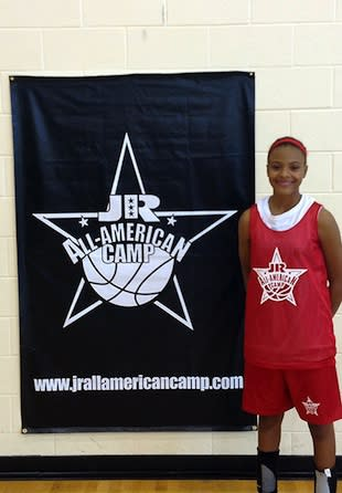 13-year-old Katlyn Gilbert has already made a college commitment — Jr. All American Camp