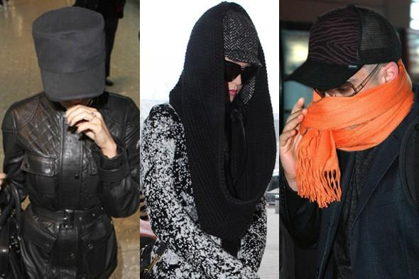 Celebrities hiding at the airport: Can you guess who they are? Celebrity quiz, celebrity travel pics, celebrites at the airport