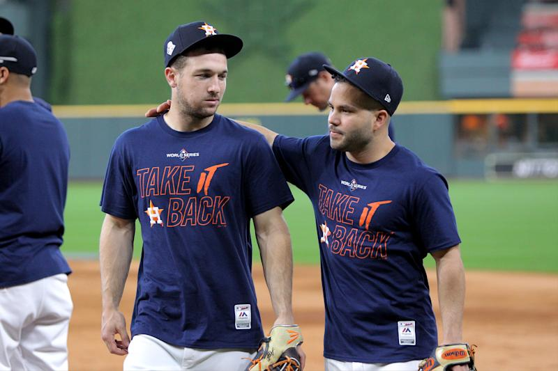 Alex Bregman, Jose Altuve and the Astros are looking to stop the bleeding in World Series Game 3. (Erik Williams-USA TODAY Sports)