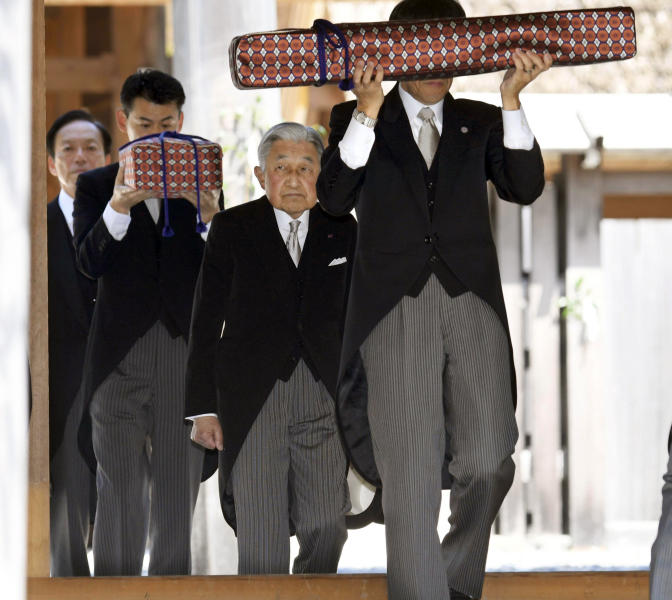 Japanese Emperor Akihito, second right, visits Ise Grand Shrine, or Ise Jingu, in Ise, central Japan Thursday, April 18, 2019. This is the last trip to a local region for emperor and empress before emperor's abdication.(Kazushi Kurihara/Kyodo News via AP)