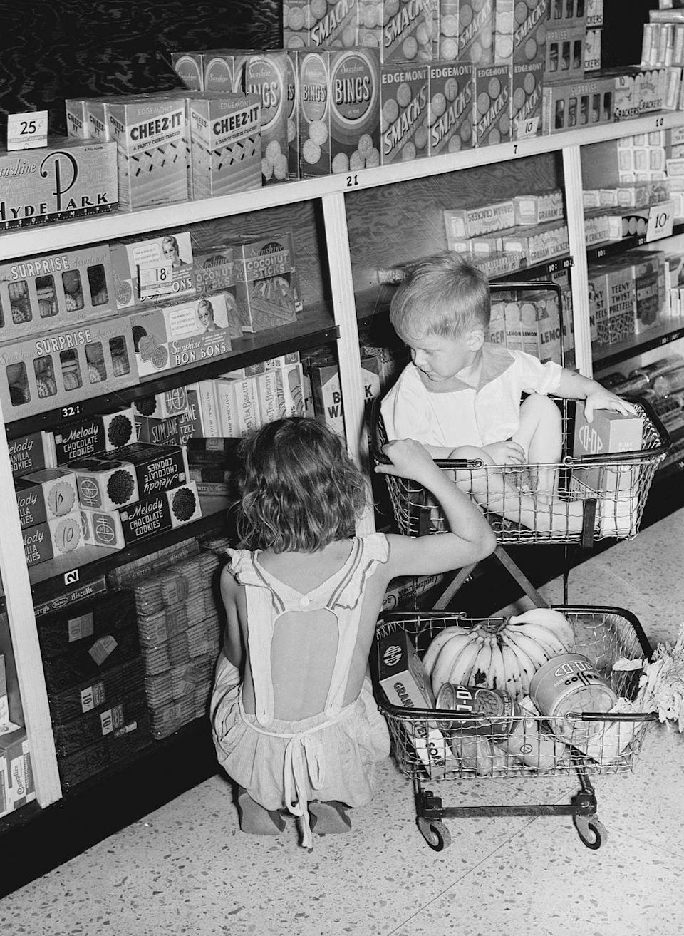 """<p>Grocery carts <a href=""""https://www.cbsnews.com/news/almanac-the-first-shopping-cart/"""" rel=""""nofollow noopener"""" target=""""_blank"""" data-ylk=""""slk:were first introduced"""" class=""""link rapid-noclick-resp"""">were first introduced</a> into the world in 1936. The handy invention was thought up by Sylvan Goldman, an Oklahoma businessman and inventor. The first line of shopping carts rolled out at Goldman's Humpty Dumpty supermarket chain, and the rest, as they say, is history.</p>"""