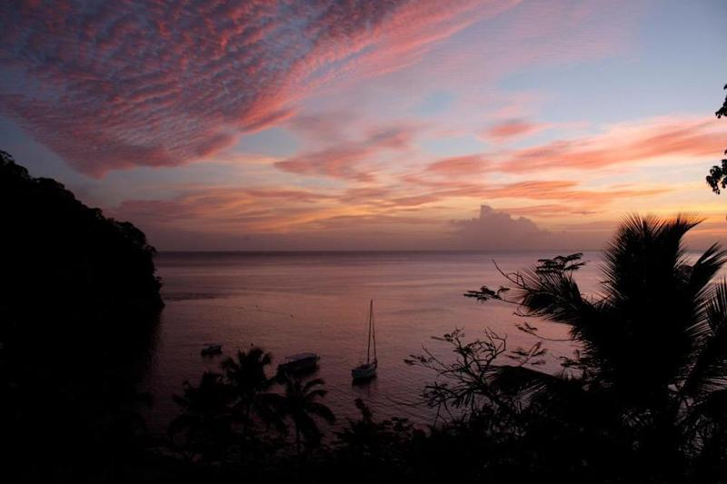 Sunset over St Lucia