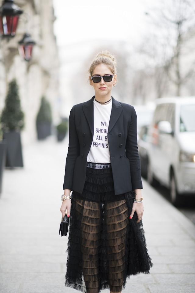 <p>Statement tees hit their peak this year as Dior, House of Holland and Prabal Gurung were amongst several designers to heavily feature them on the catwalks. Don't get us wrong, we all love a graphic t-shirt, however we have to admit that the majority of tees with text (which we often buy on impulse) do make us cringe after a while. <em>[Photo: The Blonde Salad]</em> </p>