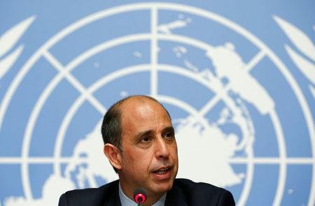 Special Rapporteur on the situation of human rights in North Korea Quintana addresses a news conference at the UN in Geneva
