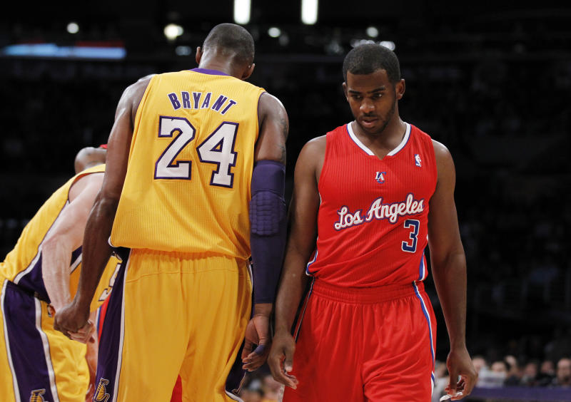 Los Angeles Lakers' Kobe Bryant, left, and Los Angeles Clippers' Chris Paul walk past each other during the first half of an NBA preseason basketball game in Los Angeles on Monday, Dec. 19, 2011. (AP Photo/Danny Moloshok)
