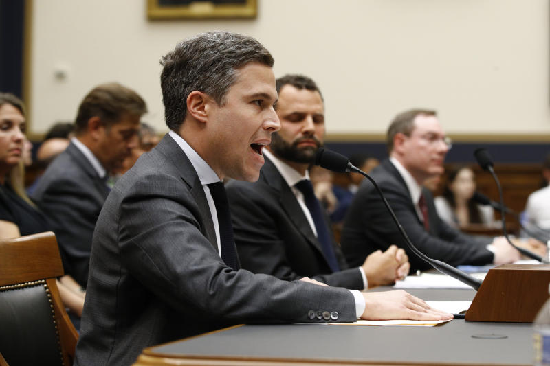 Google Director of Economic Policy Adam Cohen testifies during a House Judiciary subcommittee hearing, Tuesday, July 16, 2019, on Capitol Hill in Washington. (AP Photo/Patrick Semansky)