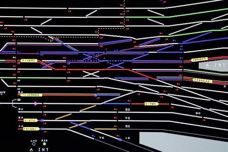 FILE PHOTO: A computer screen showing different tracks at the Penn Station Control Room for Amtrak and the Long Island Rail Road is pictured in the Manhattan borough of New York City, New York, U.S. July 25, 2017.  REUTERS/Carlo Allegri